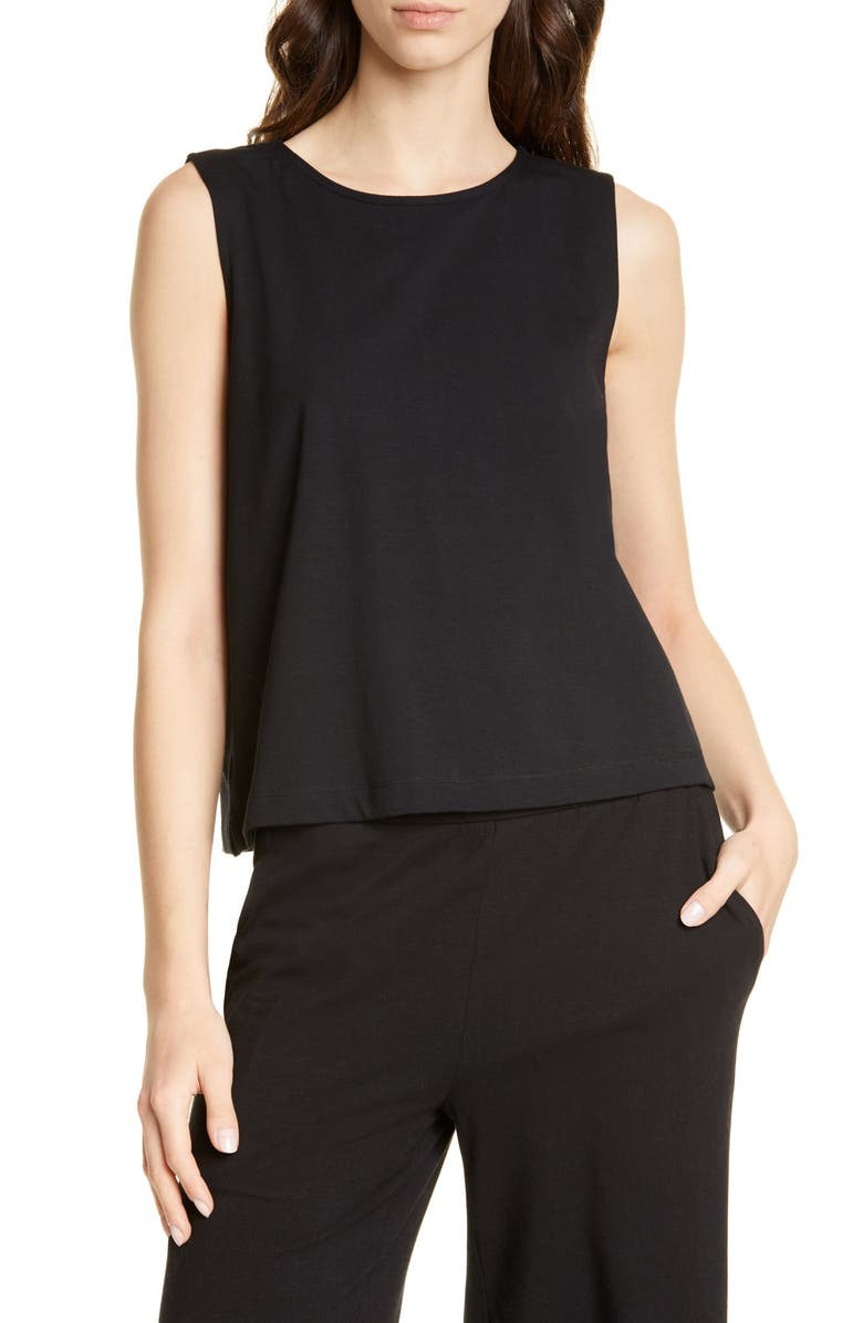 EILEEN FISHER Stretch Cotton Shell, Main, color, BLACK