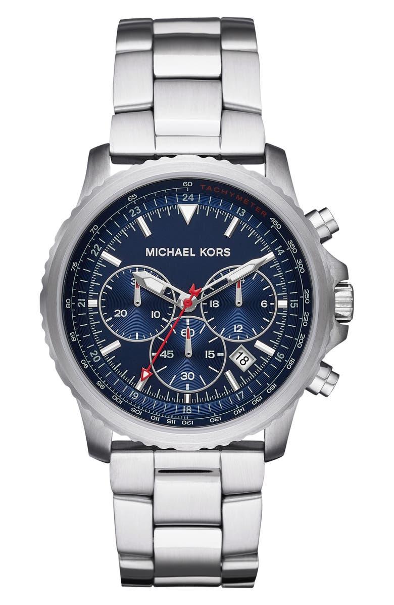 MICHAEL KORS Theroux Bracelet Watch, 42mm, Main, color, SILVER/ BLUE/ SILVER