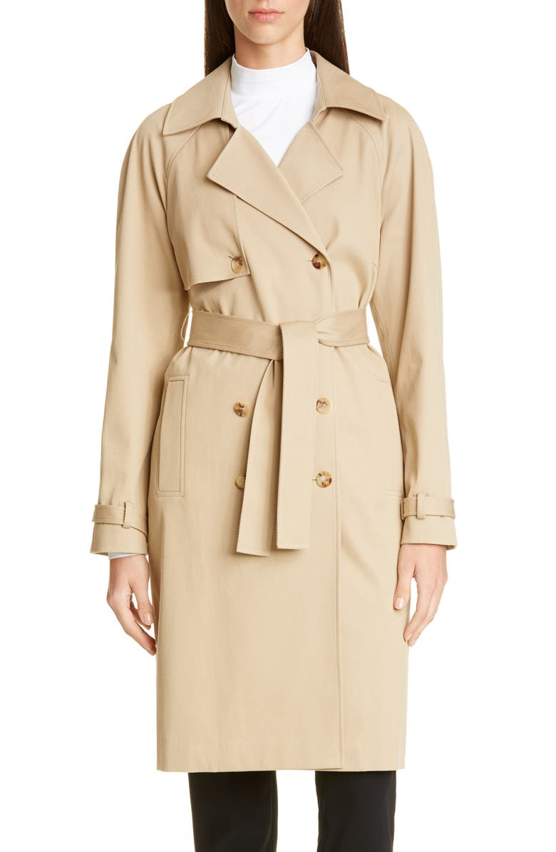 ST. JOHN COLLECTION Luxe Stretch Twill Trench Coat, Main, color, CORK