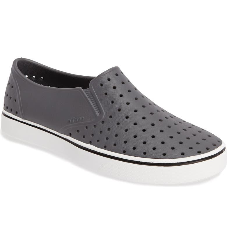 NATIVE SHOES Miles Water Friendly Perforated Slip-On, Main, color, GREY/ WHITE