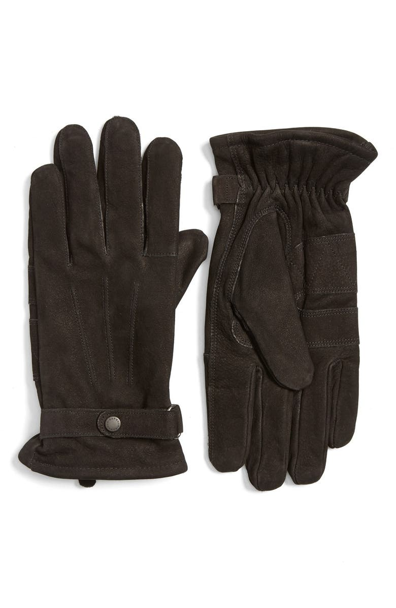 BARBOUR Leather Gloves, Main, color, 001