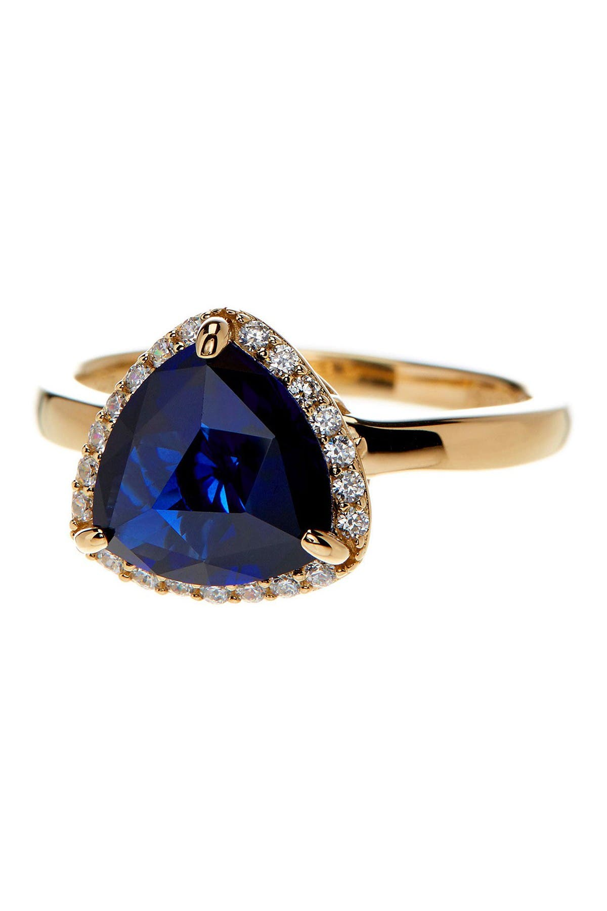 Image of Suzy Levian Gold Tone Sterling Silver Created Sapphire Ring
