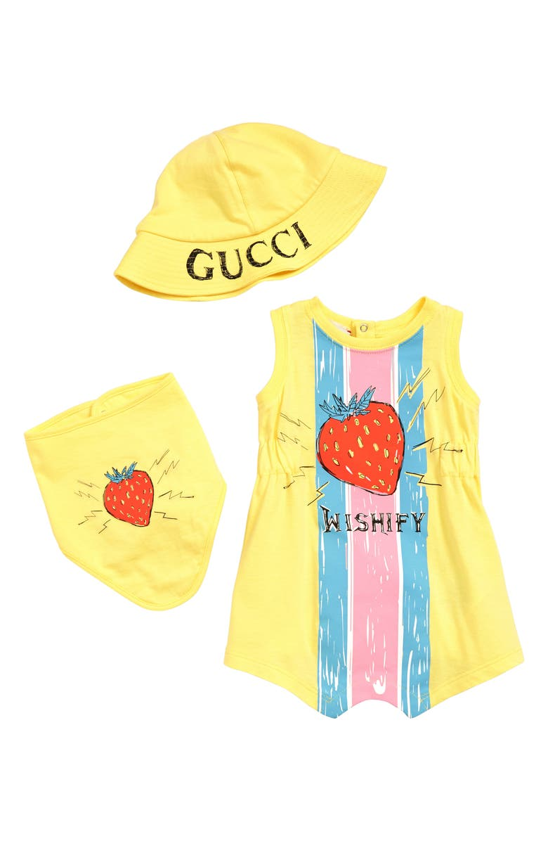 GUCCI Romper, Bandana Bib & Bucket Hat Gift Set, Main, color, LEMON