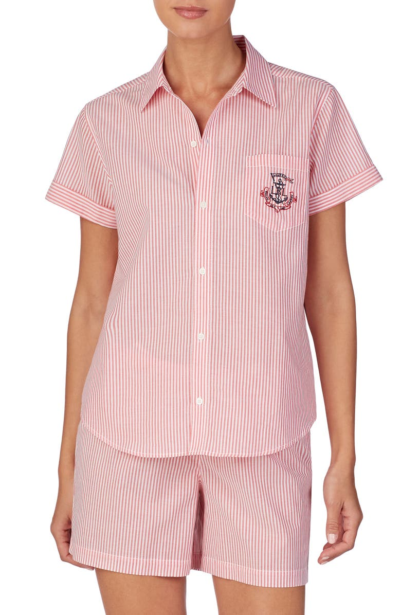 LAUREN RALPH LAUREN Stripe Short Pajamas, Main, color, RED STRIPE