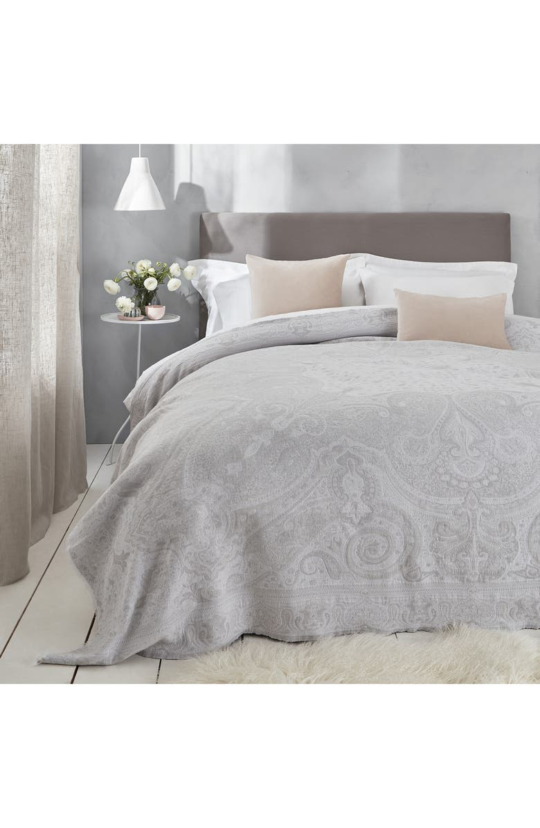 THE WHITE COMPANY Large Montrose Paisley Cotton Throw Blanket, Main, color, SILVER