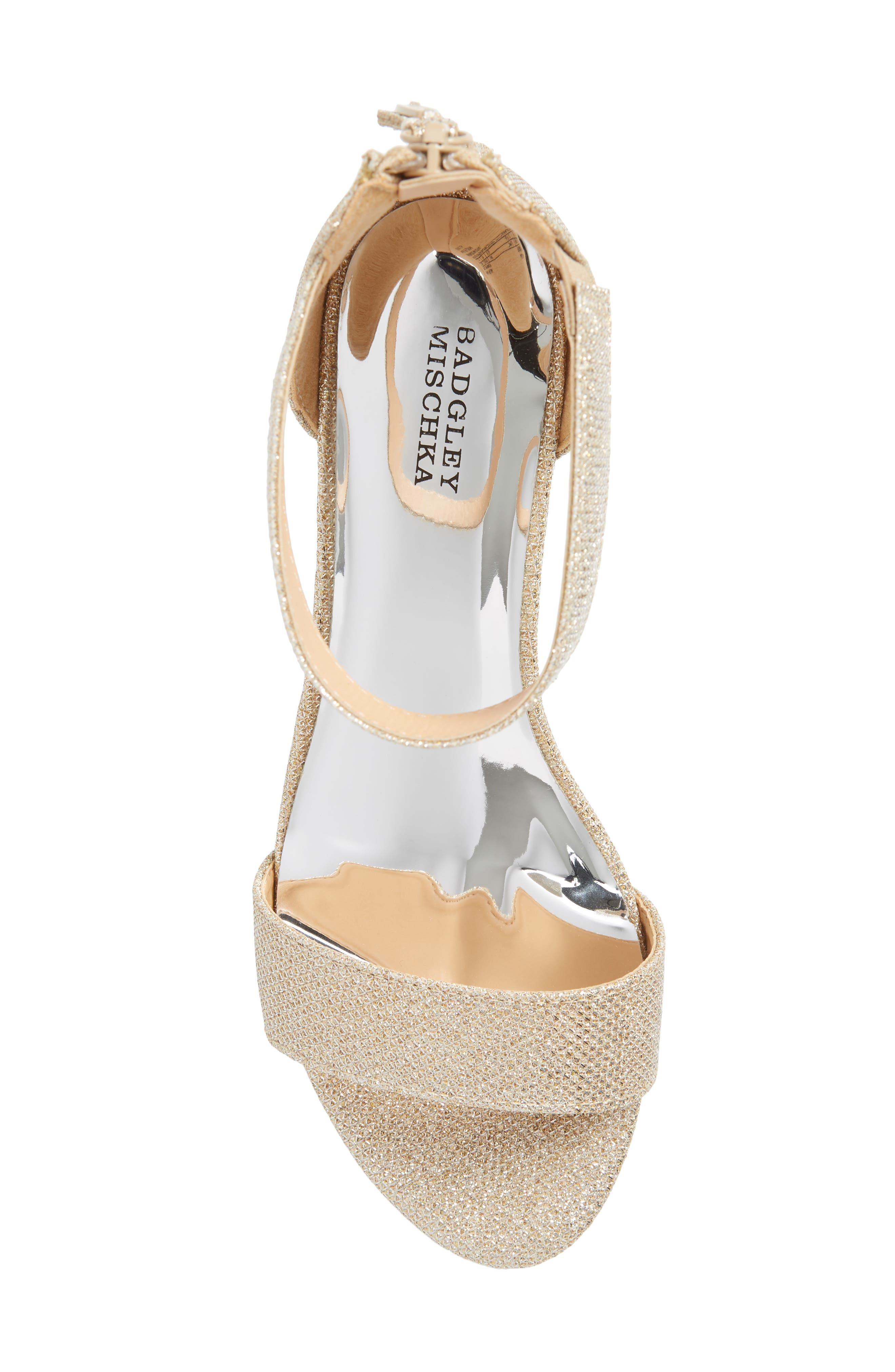,                             Badgley Mischka Pernia Velma Shimmer Sandal,                             Alternate thumbnail 5, color,                             LIGHT GOLD SHIMMER
