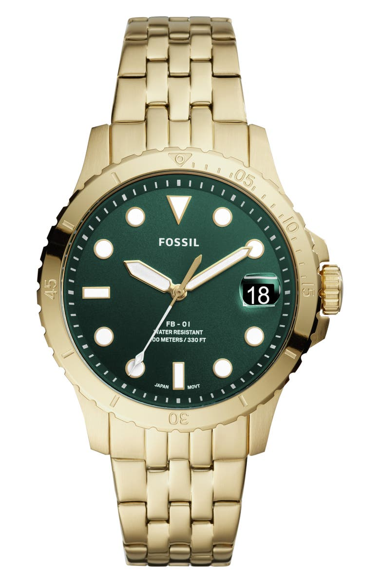 FOSSIL FB-01 Bracelet Watch, 36mm, Main, color, GOLD/ GREEN/ GOLD