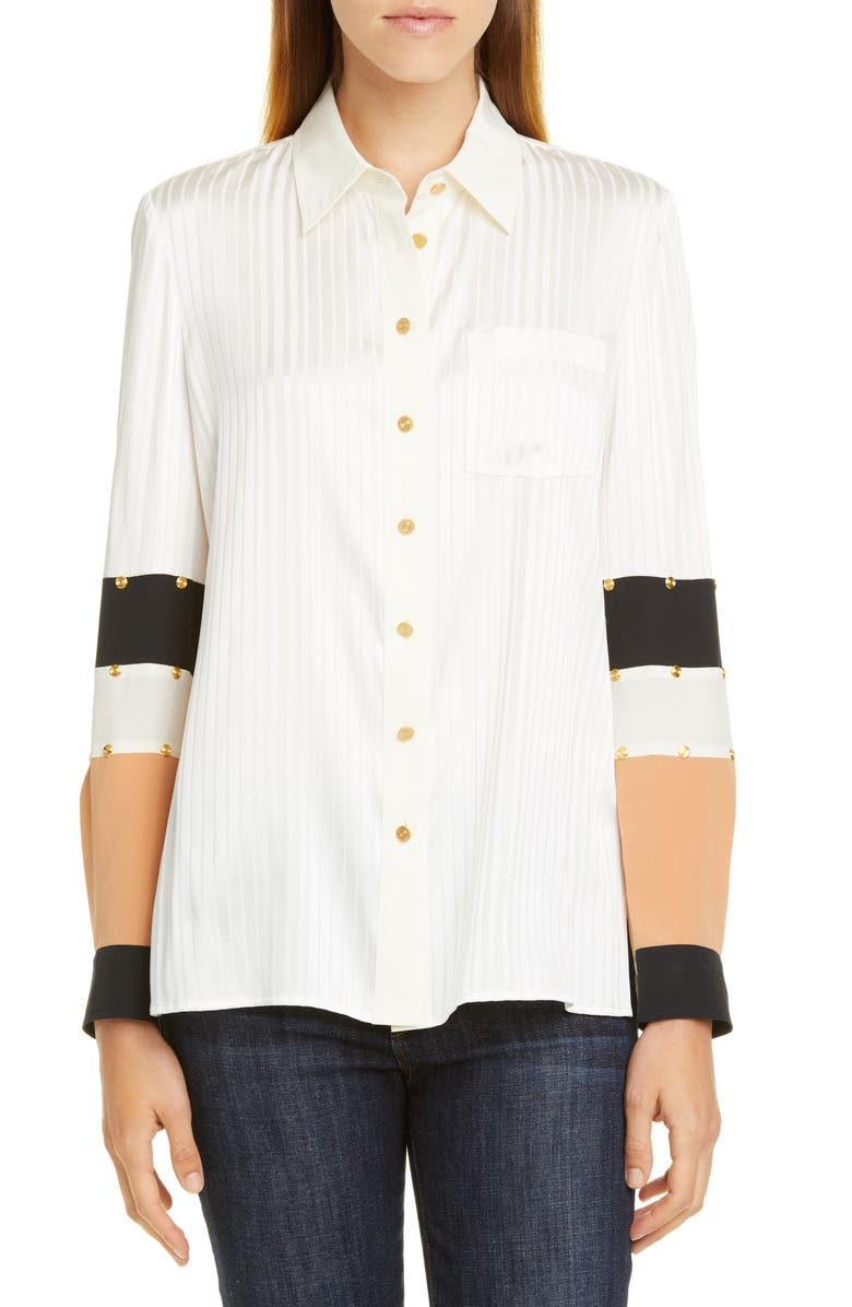 TORY BURCH Patchwork Stud Silk Shirt, Main, color, 900