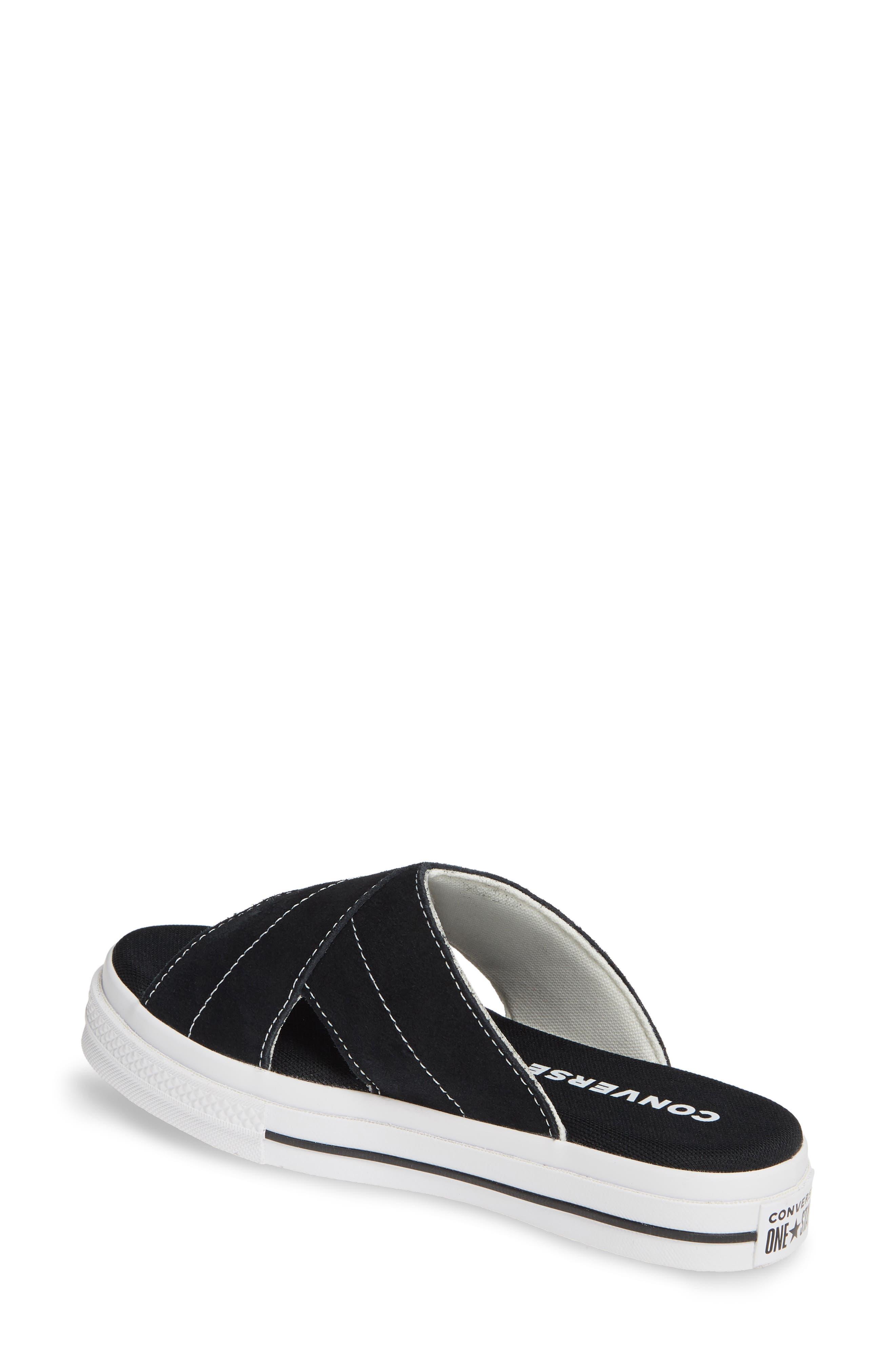 ,                             One Star Platform Slide Sandal,                             Alternate thumbnail 2, color,                             BLACK/ EGRET/ WHITE
