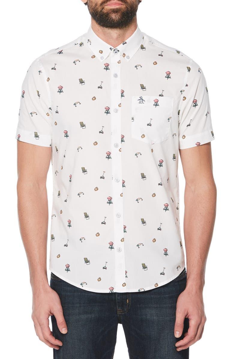 ORIGINAL PENGUIN Dad Activity Print Woven Shirt, Main, color, 118