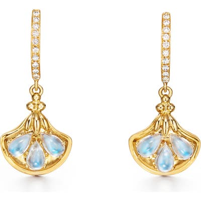 Temple St. Clair Lotus Moonstone 18K Gold Drop Earrings