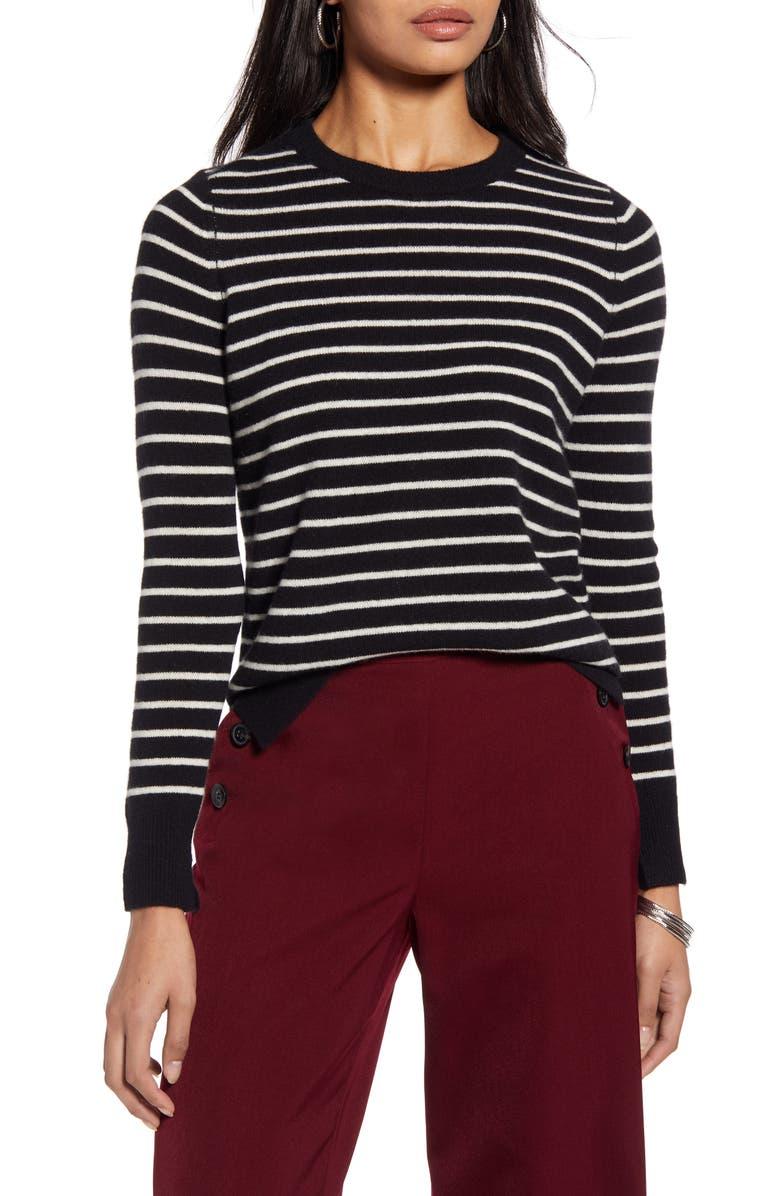HALOGEN<SUP>®</SUP> Crewneck Cashmere Sweater, Main, color, BLACK- IVORY UNEVEN STRIPE