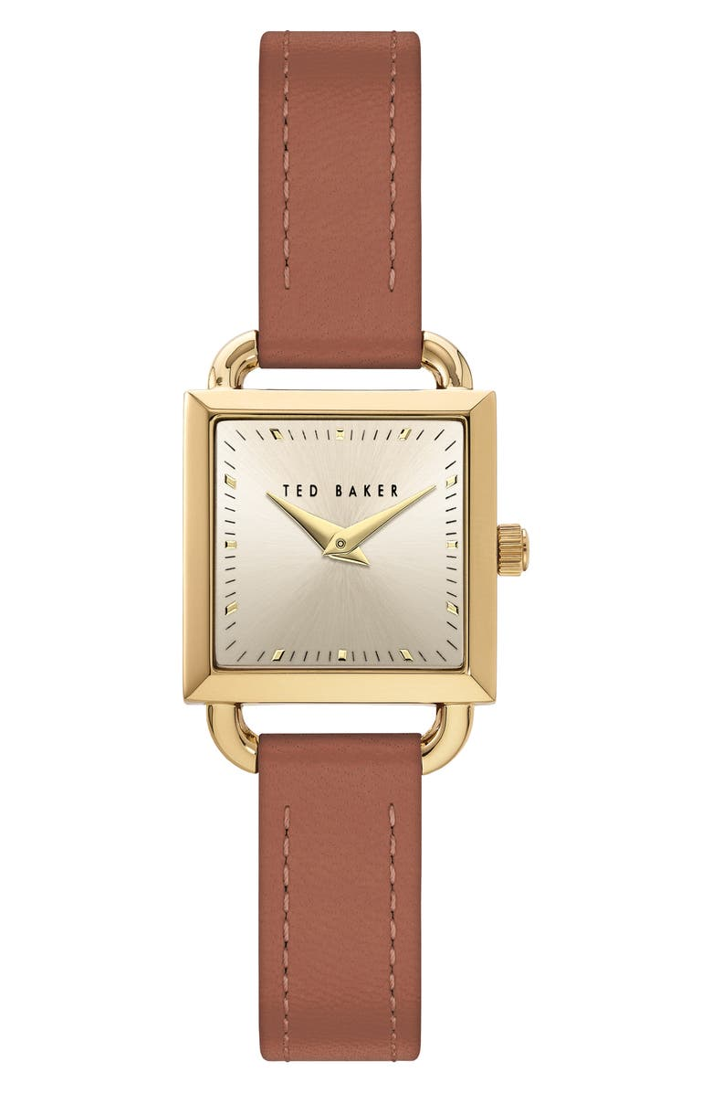 TED BAKER LONDON Taliah Leather Strap Watch, 24mm, Main, color, BROWN/ GOLD