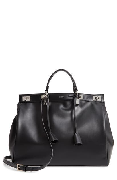 Giambattista Valli Large Flore Calfskin Leather Satchel In Black/ Nickel