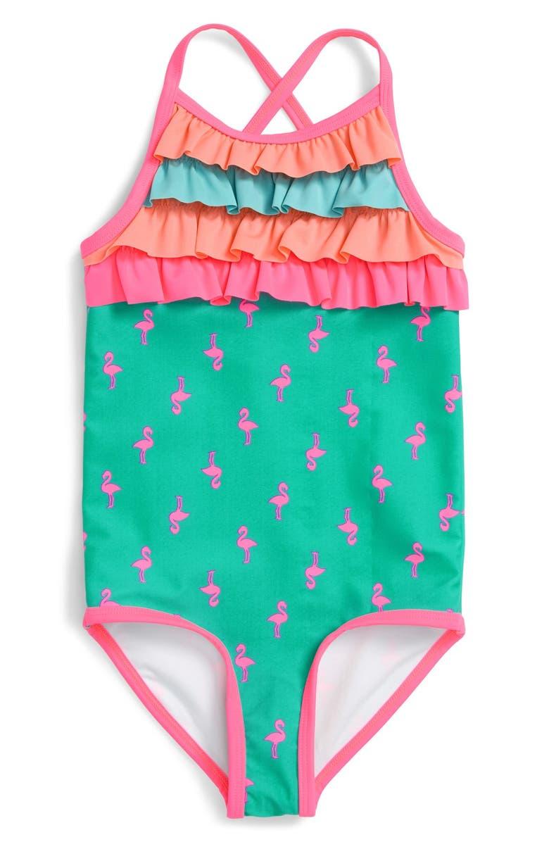 TUCKER + TATE Ruffle & Stripe One-Piece Swimsuit, Main, color, TEAL WATERFALL FLAMINGO