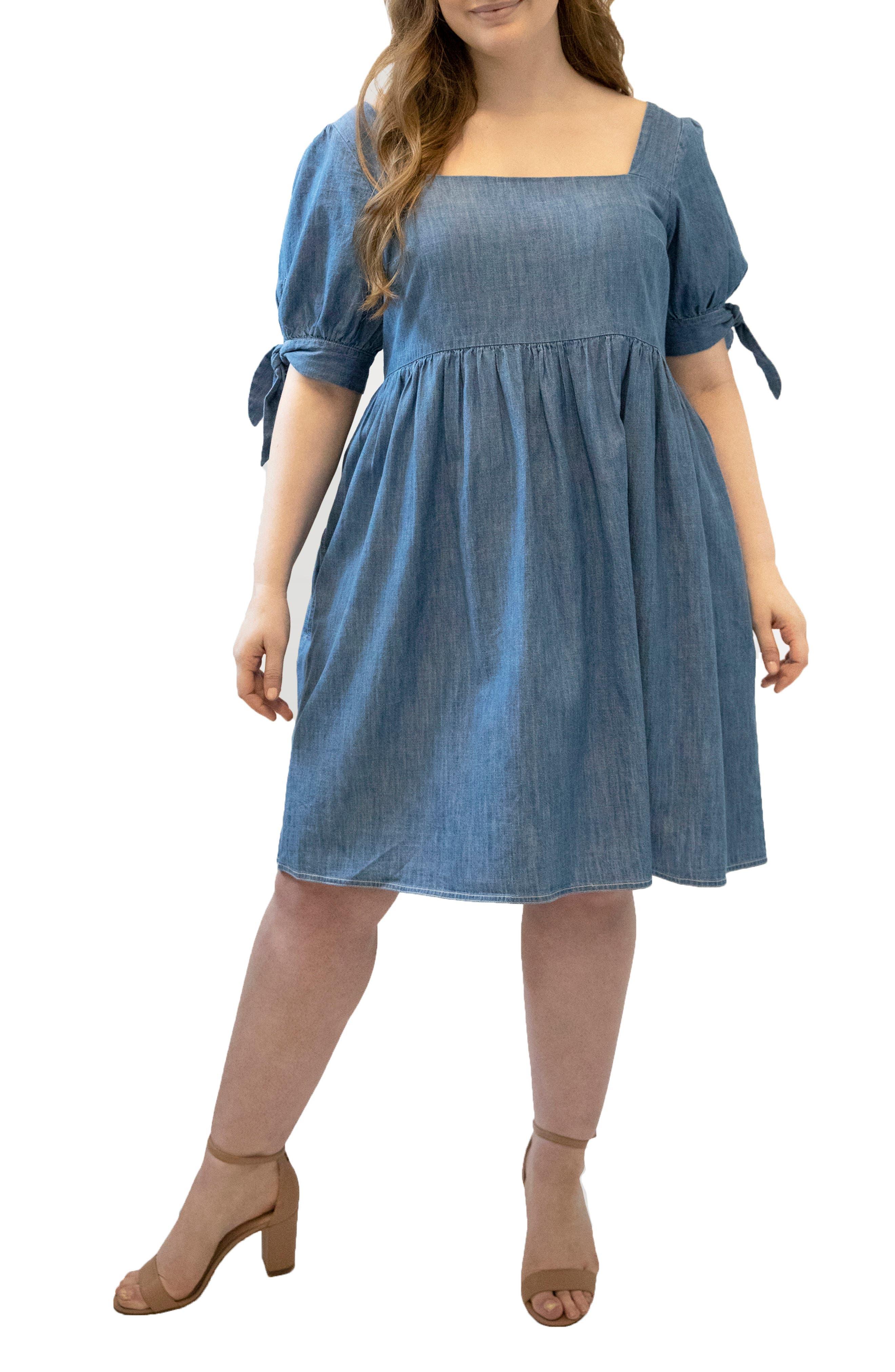 Tie Sleeve Denim Babydoll Dress