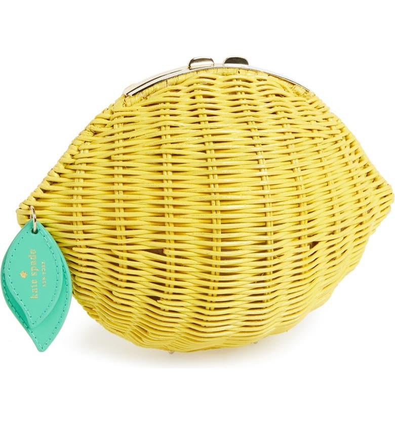 KATE SPADE NEW YORK 'vita riva' wicker lemon crossbody bag, Main, color, 700