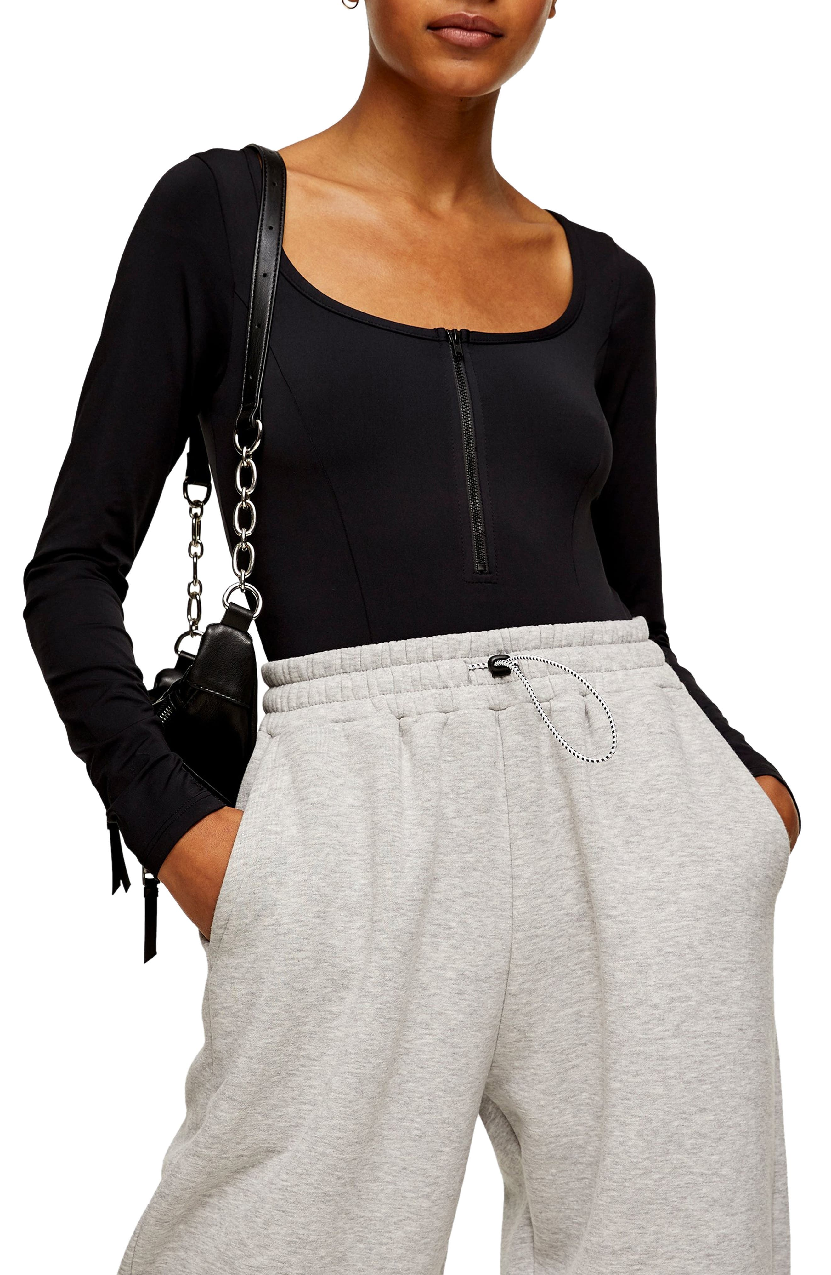 Image of TOPSHOP Half Zip Bodysuit