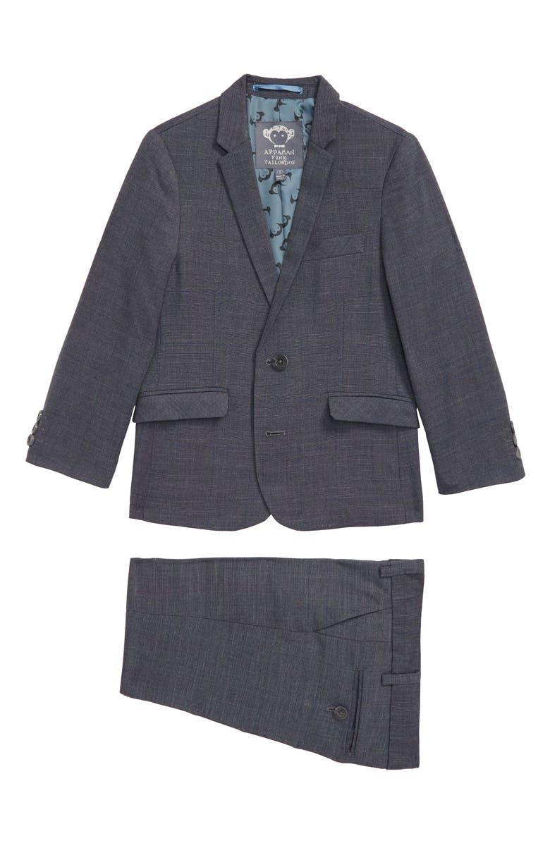 APPAMAN Mod Glen Plaid Suit, Main, color, GREY
