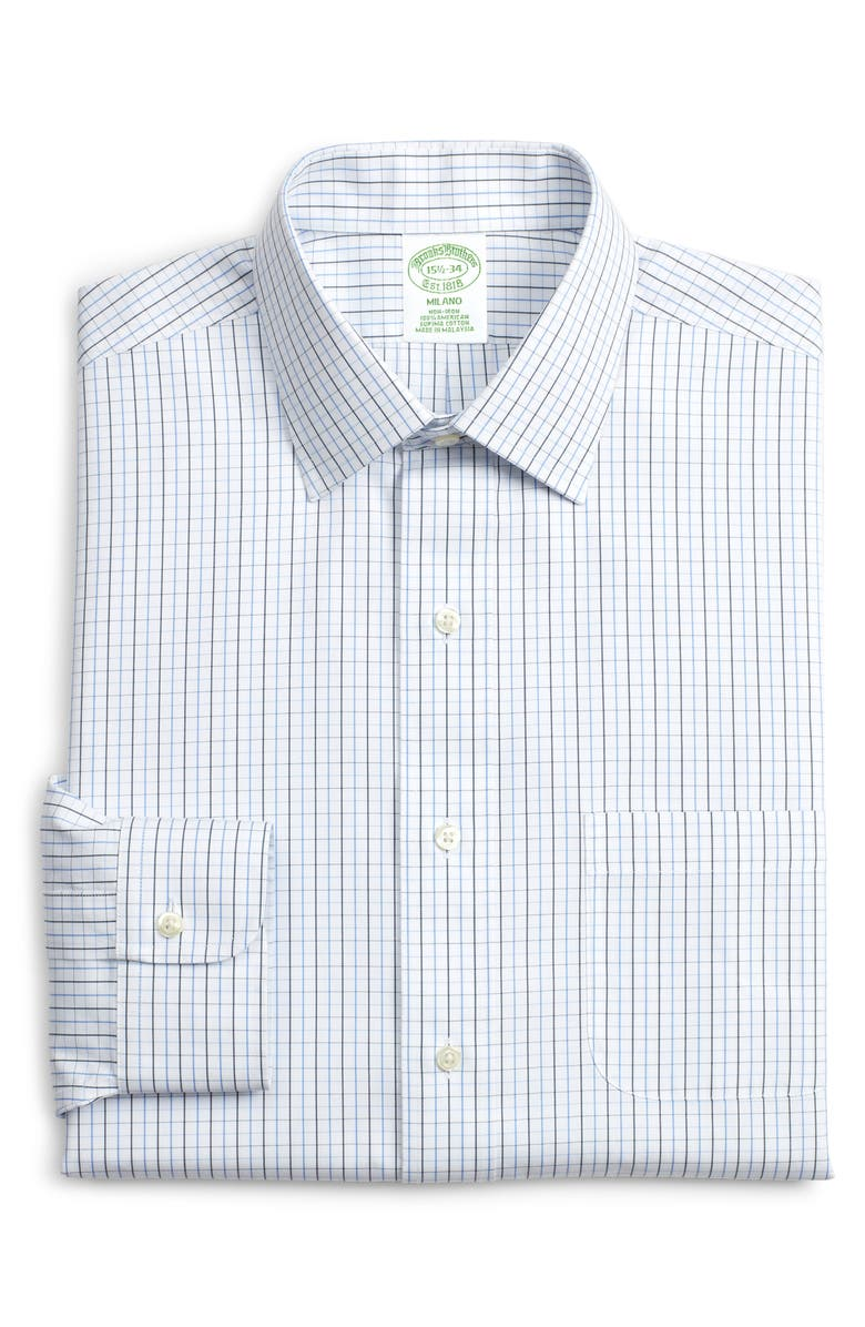 BROOKS BROTHERS Milano Slim Fit Check Dress Shirt, Main, color, BLUE