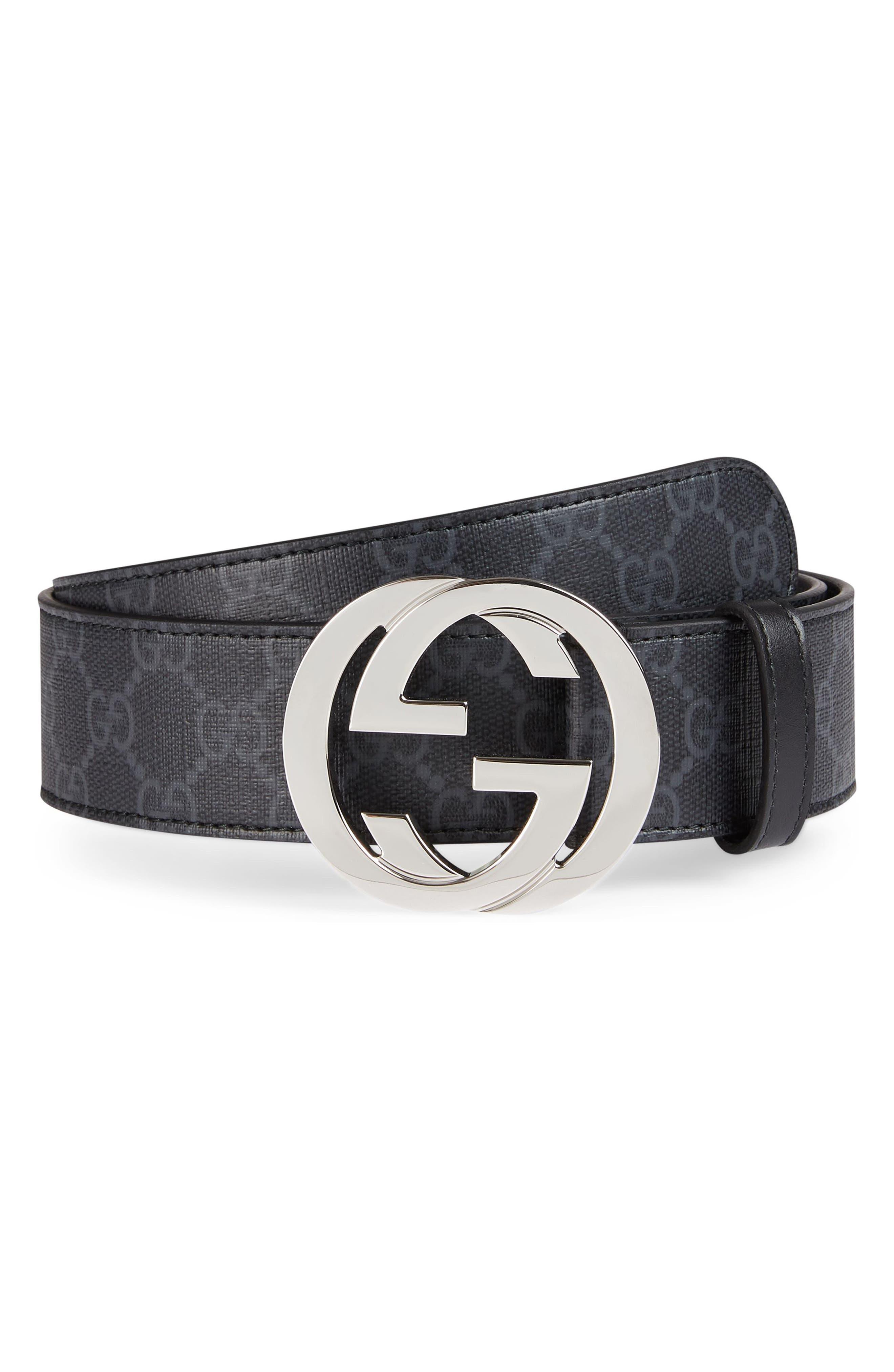 ,                             Logo Buckle Interlocking Belt,                             Main thumbnail 1, color,                             BLACK