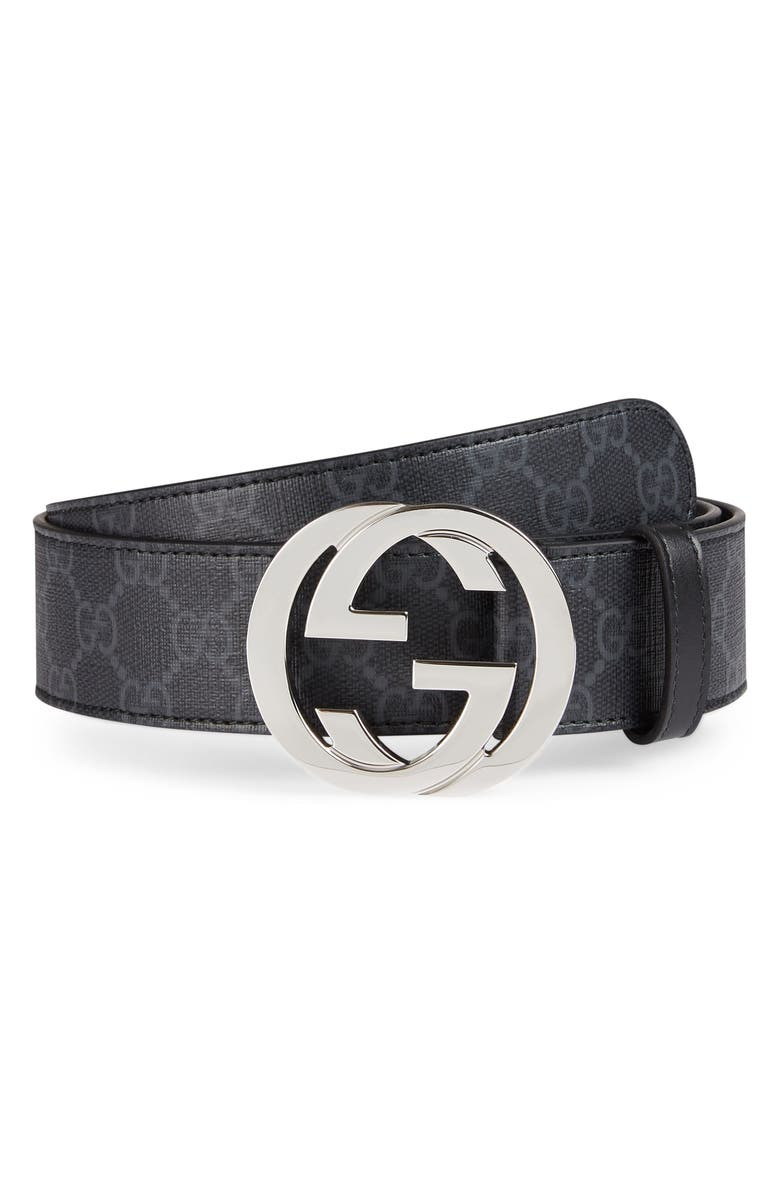 GUCCI Logo Buckle Interlocking Belt, Main, color, BLACK