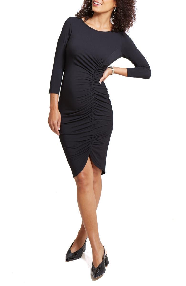 INGRID & ISABEL<SUP>®</SUP> Tulip Hem Maternity Dress, Main, color, BLACK