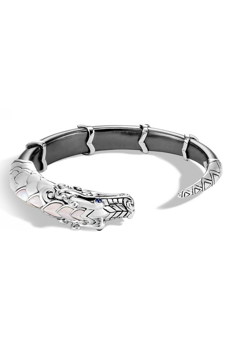 JOHN HARDY Legends Naga Dragon Small Kick Cuff, Main, color, SILVER/ PEARL/ HEMATITE