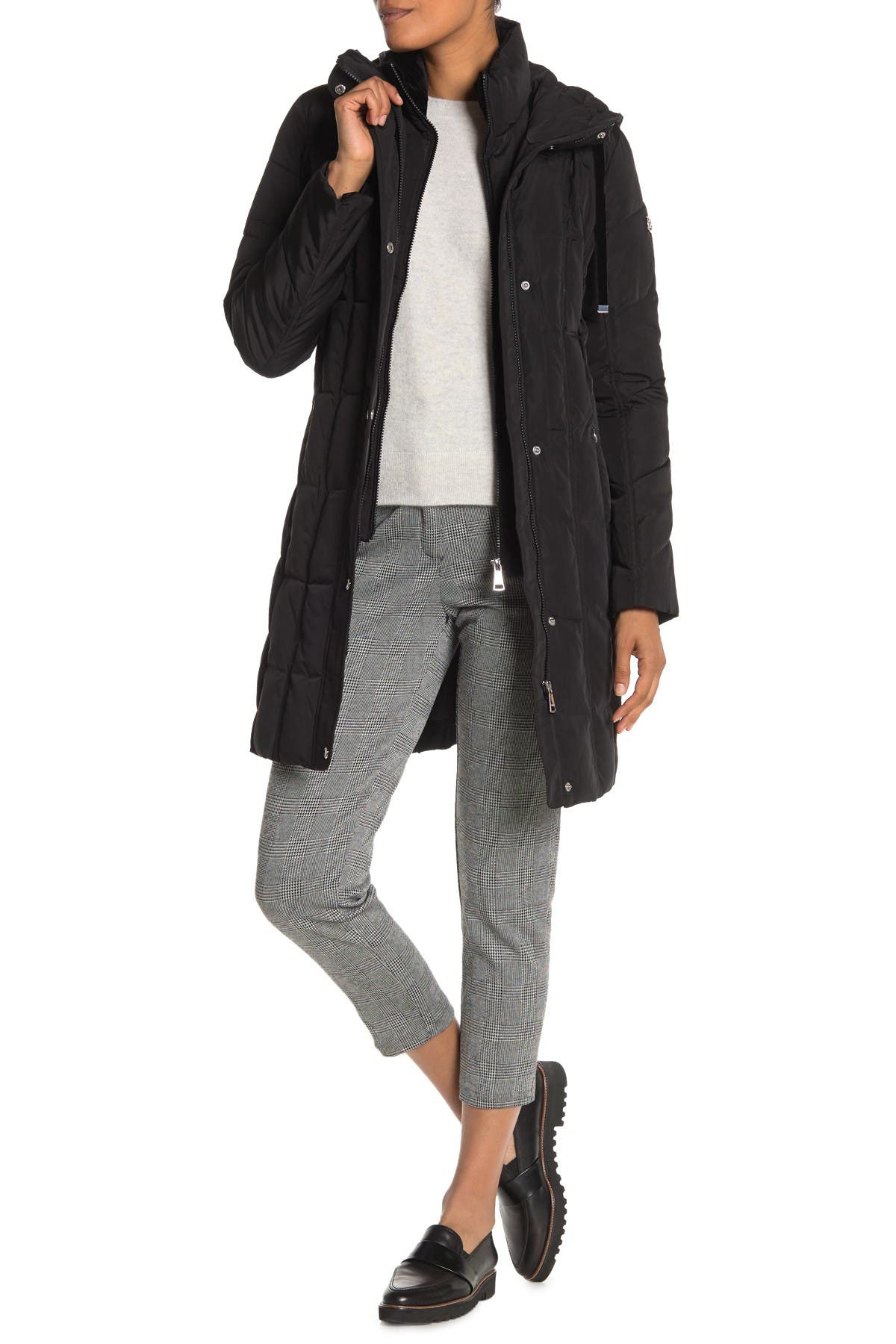 Image of Calvin Klein Hooded Quilted Long Jacket