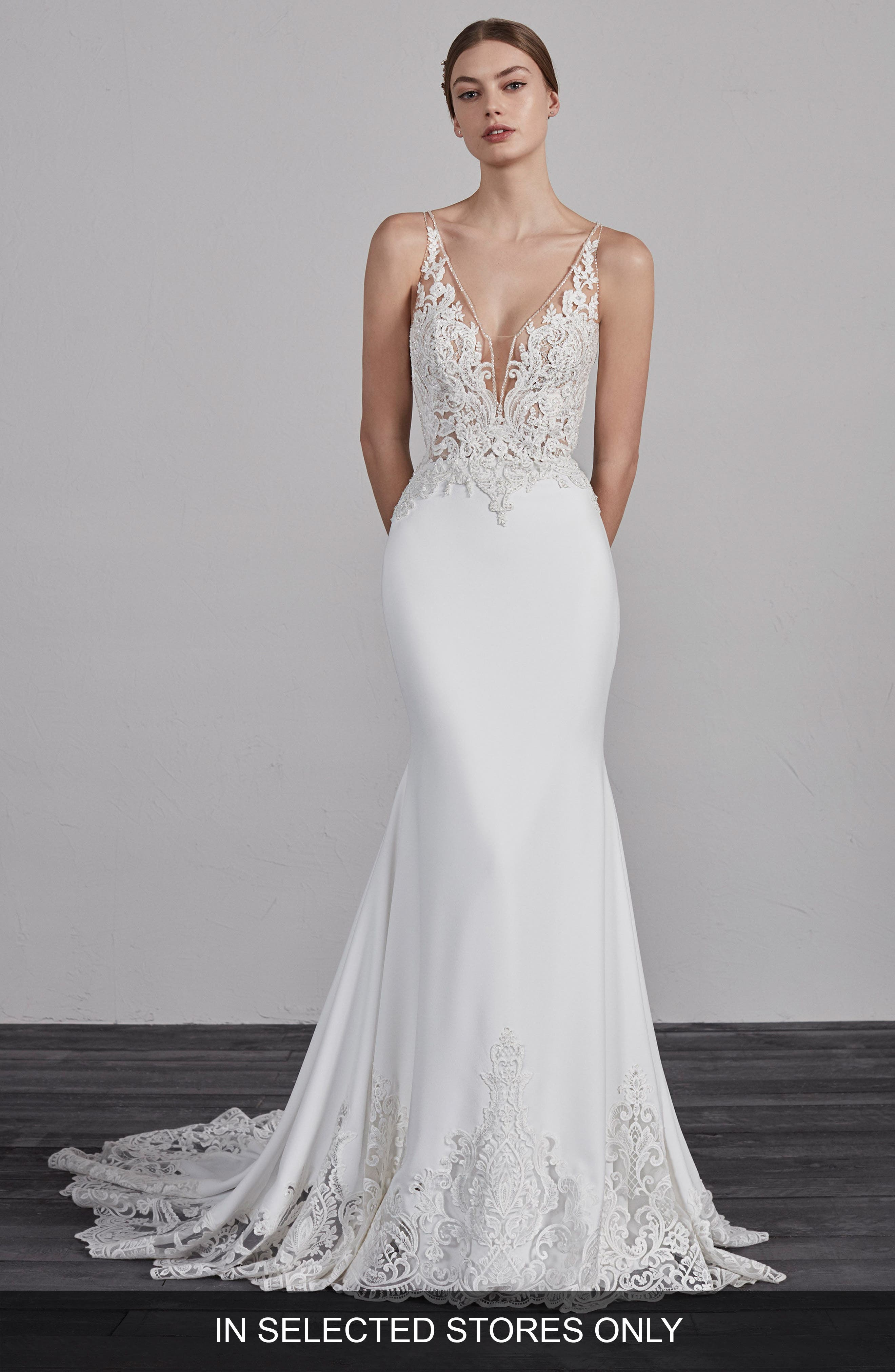 Pronovias Erandi V-Neck Lace & Crepe Trumpet Gown, Size IN STORE ONLY - Ivory