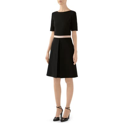Gucci Logo Waist Wool Blend Jersey A-Line Dress, US / 42 IT - Black