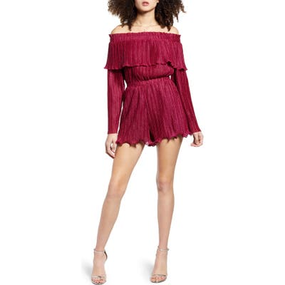 Endless Rose Metallic Pleat Off The Shoulder Romper, Pink
