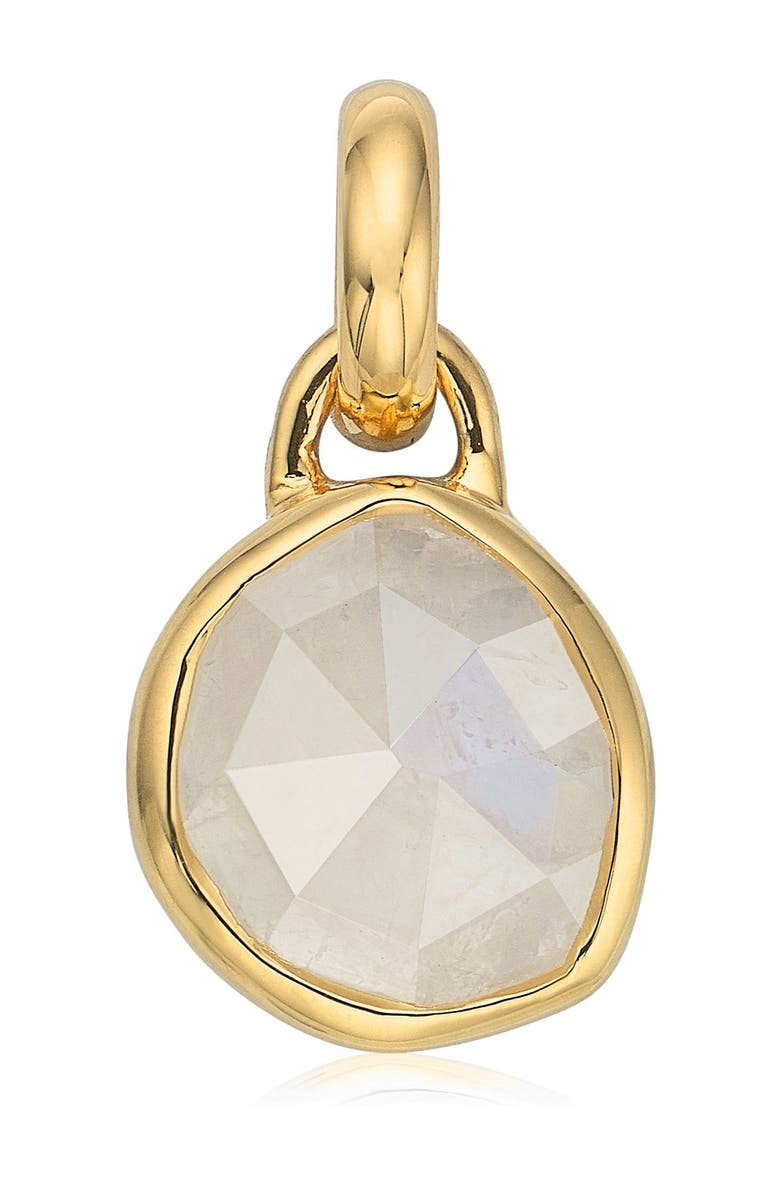 MONICA VINADER Siren Bezel Pendant Charm, Main, color, MOONSTONE/ YELLOW GOLD