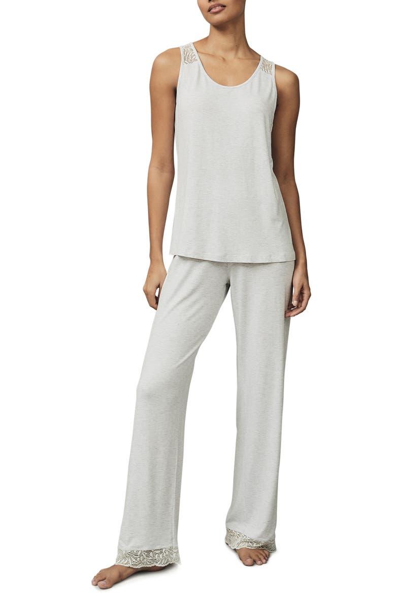 THE WHITE COMPANY Lace Back Knit Pajamas, Main, color, CLOUD