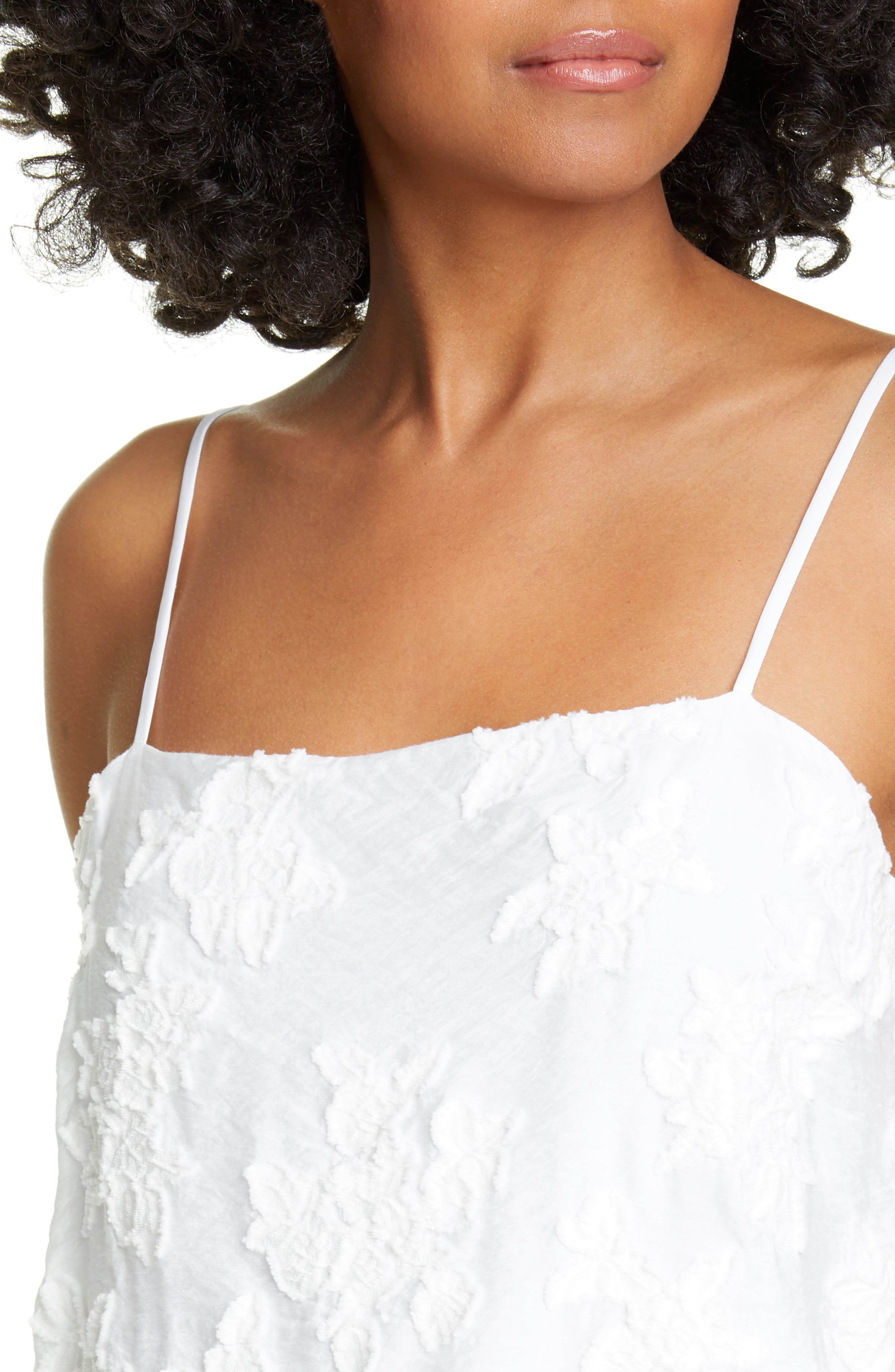 ,                             Textured Floral Camisole,                             Alternate thumbnail 4, color,                             OPTIC WHITE