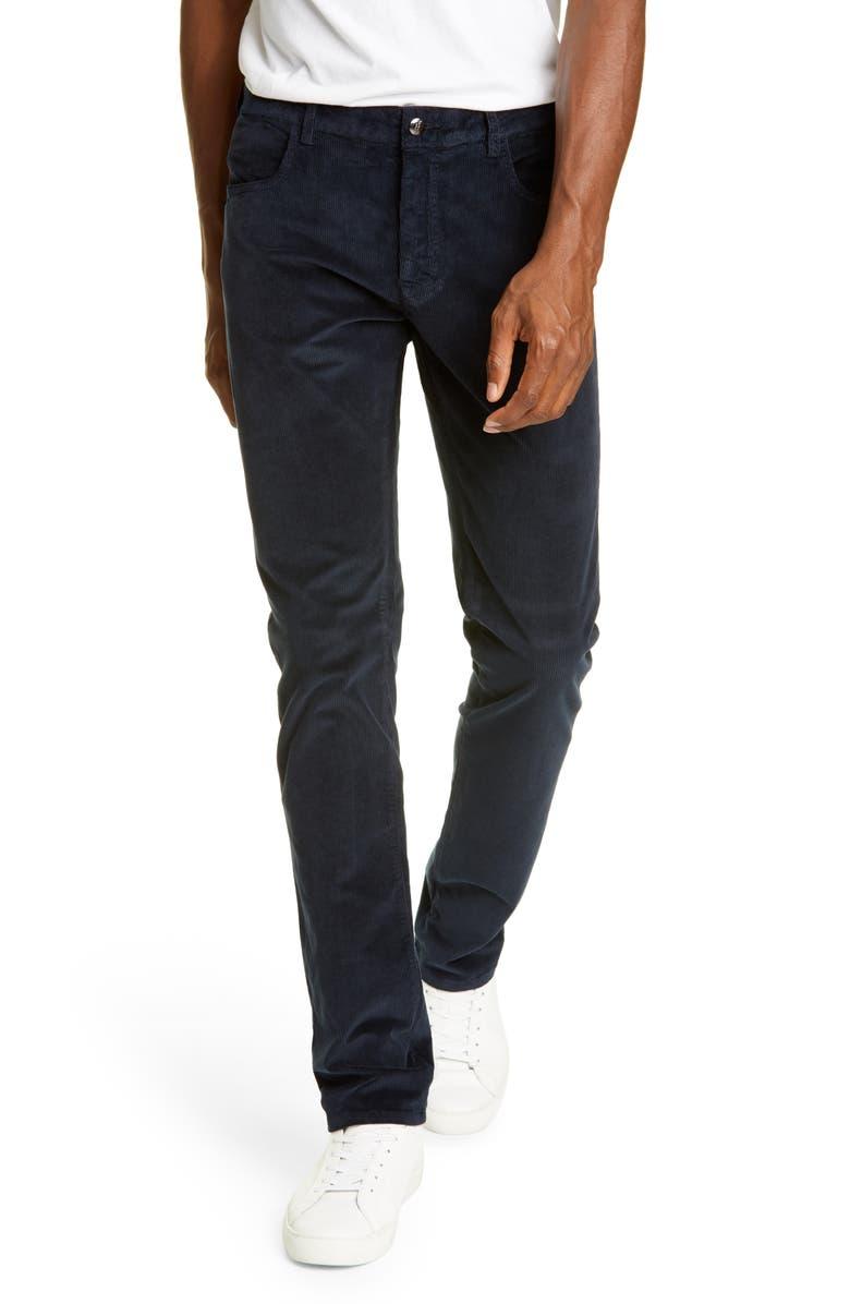 CANALI Corduroy Stretch Cotton Blend Five Pocket Pants, Main, color, NAVY