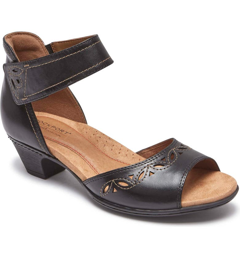 ROCKPORT COBB HILL Abbott Perforated Sandal, Main, color, BLACK LEATHER
