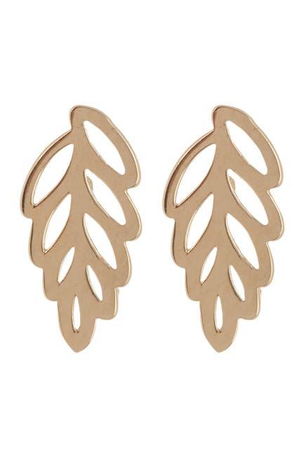 Image of Candela 14K Yellow Gold Leaf Stud Earrings