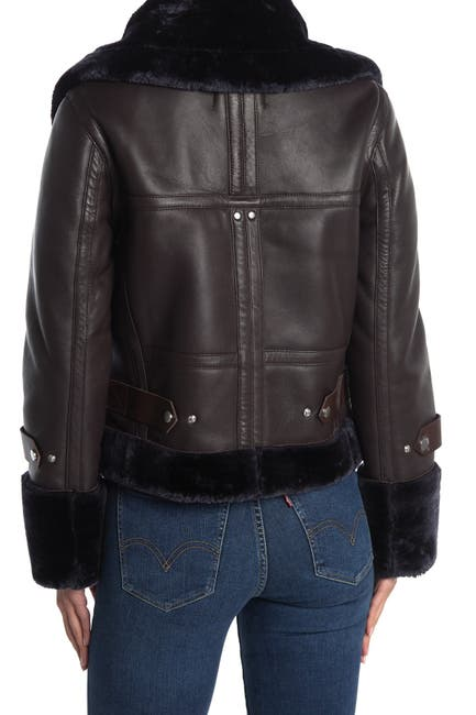 Image of Walter Baker Lianna Faux Fur Trim Leather Jacket