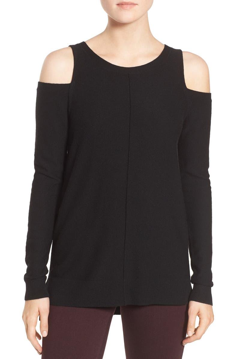 TROUVÉ Cold Shoulder Sweater, Main, color, BLACK