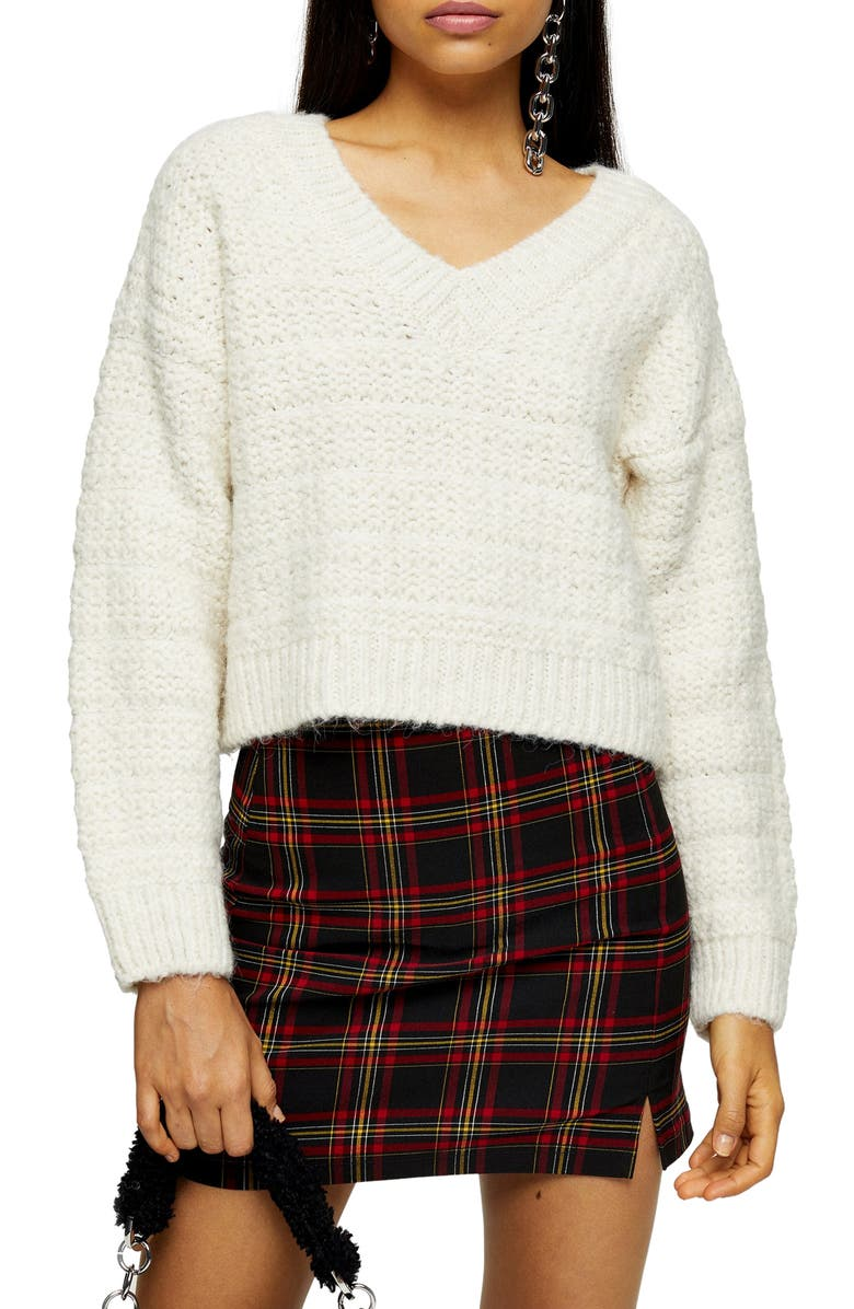 TOPSHOP Self Stripe V-Neck Sweater, Main, color, 251