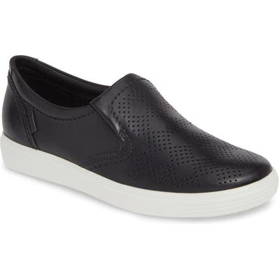 Ecco Soft 7 Perforated Slip-On Sneaker, Black