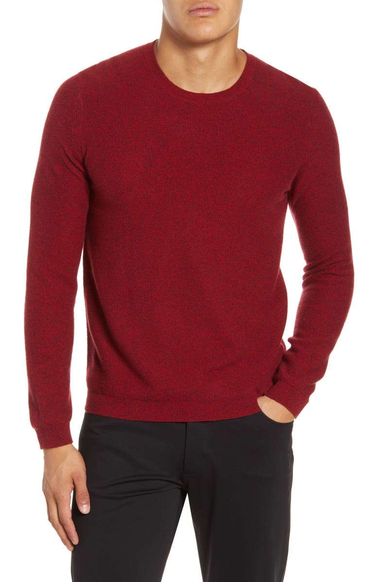 THEORY Medin Crewneck Cashmere Sweater, Main, color, CRIMSON MIX