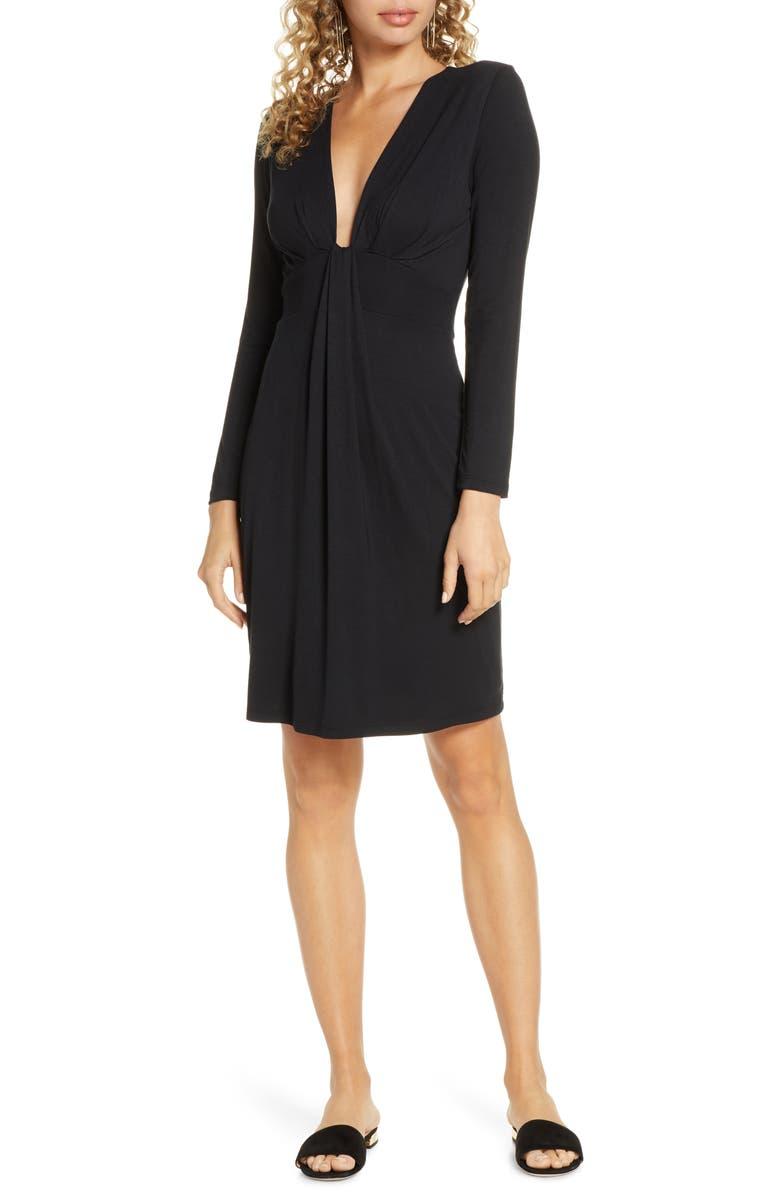 FRAICHE BY J Plunge Neck Long Sleeve Knit Dress, Main, color, BLACK