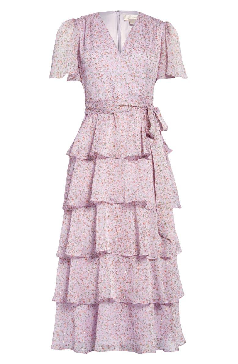 RACHEL PARCELL Flutter Flounce Midi Dress, Main, color, PURPLE MOSS LISBETH FLORAL