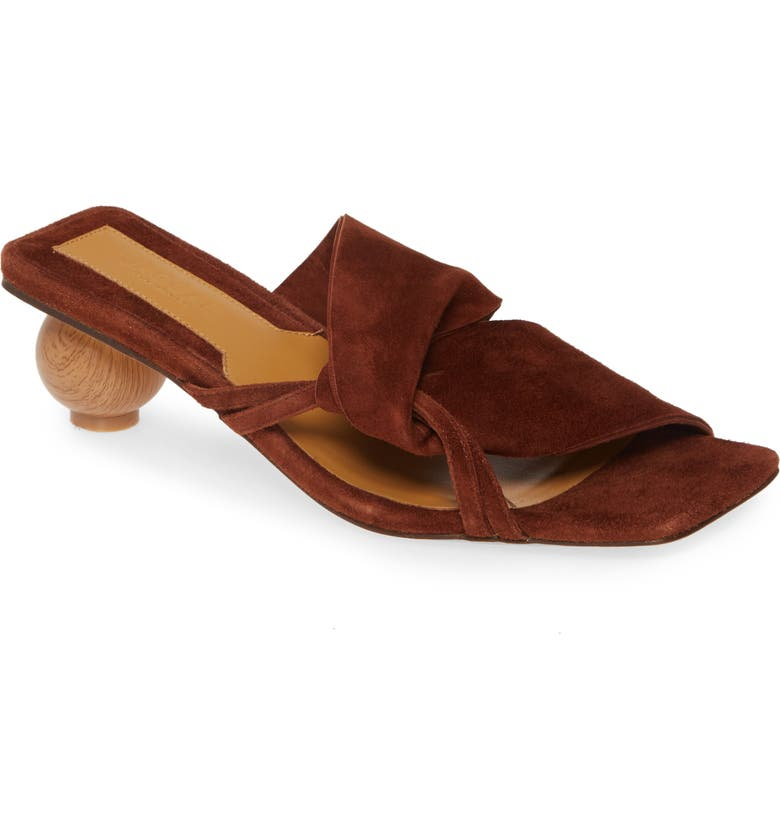 JAGGAR Gathered Slide Sandal, Main, color, CHOCOLATE SUEDE