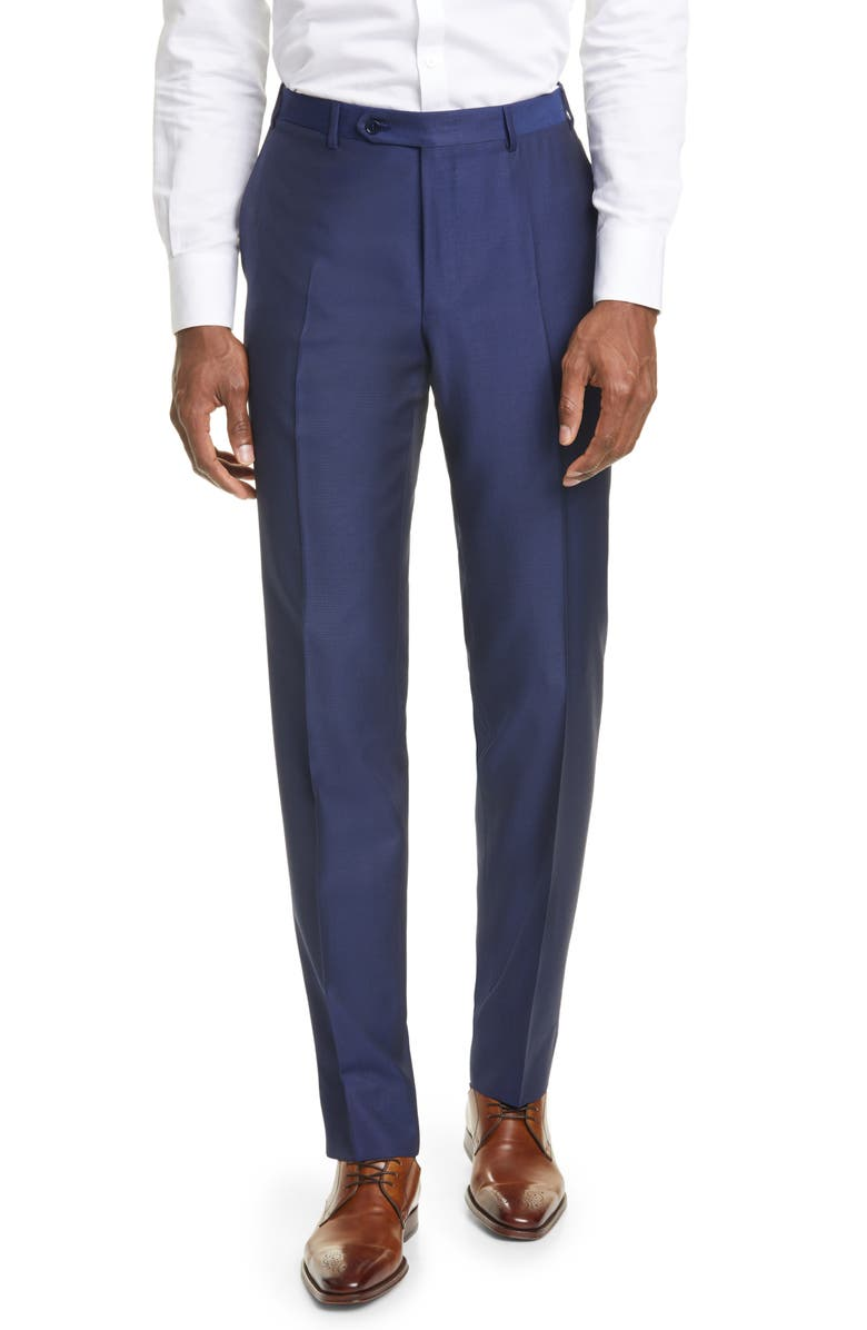 CANALI Classic Fit Wool & Mohair Pants, Main, color, NAVY