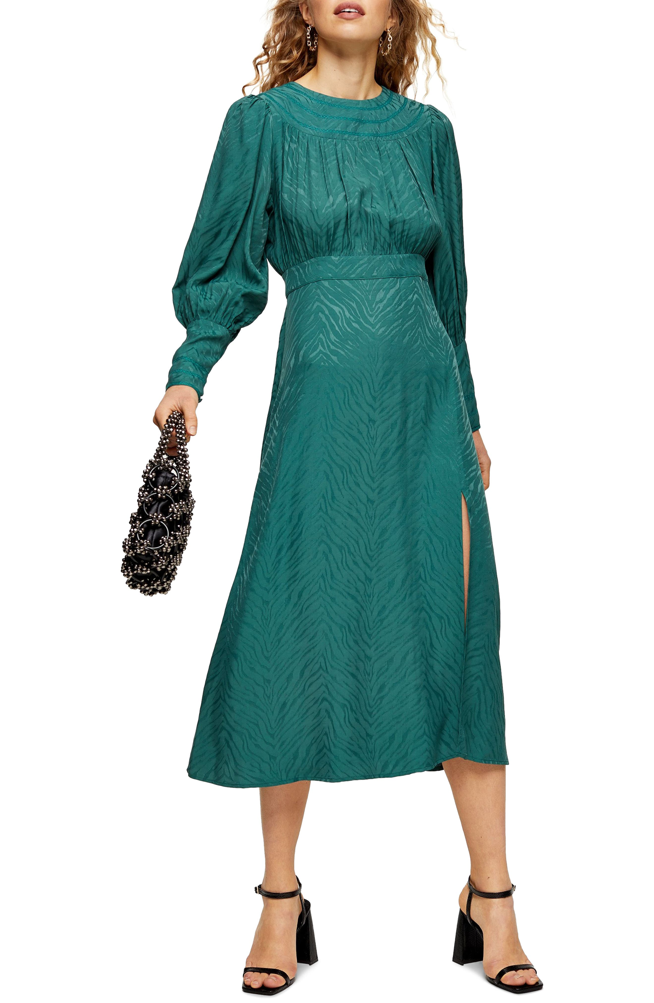 Vintage 1920s Dresses – Where to Buy Womens Topshop Fallen Long Sleeve Jacquard Midi Dress $95.00 AT vintagedancer.com