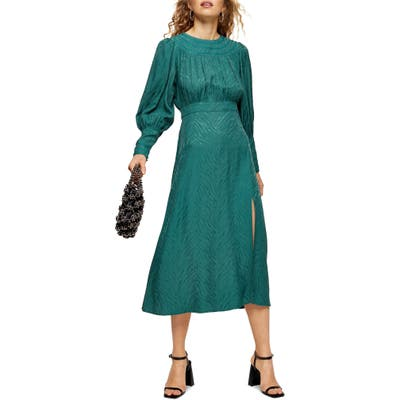 Topshop Fallen Long Sleeve Jacquard Midi Dress, US (fits like 2-4) - Green