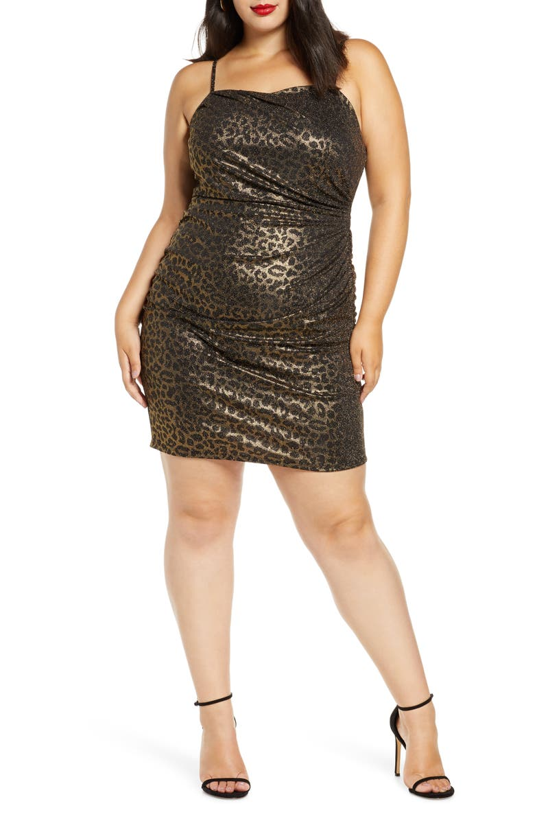 LEITH Ruched Body-Con Dress, Main, color, GOLD BLACK LEOPARD